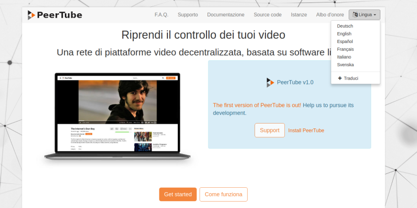 Home page in italiano di joinpeertube.org